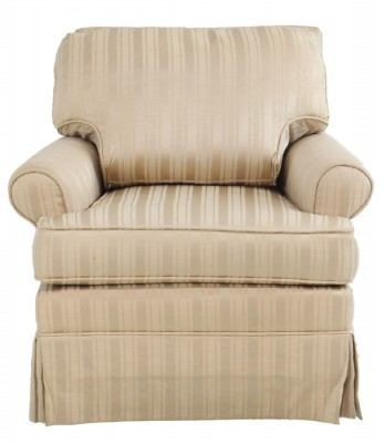 Light Tan Striped Rolled Arm Armchair