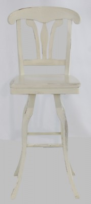 White Painted Distressed Swivel Bar Stool