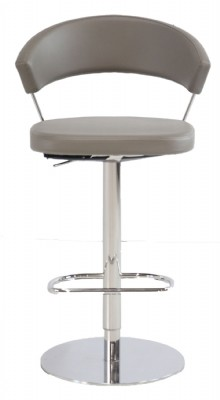 Grey Leather Seat Chrome Frame Counter/Bar Stool