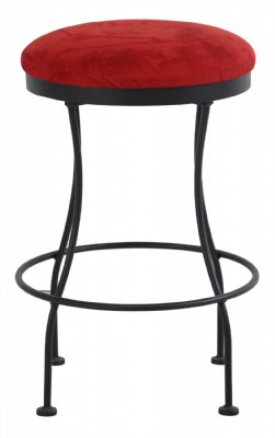 Red Upholstered Seat Metal Frame Counter Stool