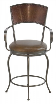 Bronzed Metal Frame Leather Seat Swivel Counter St