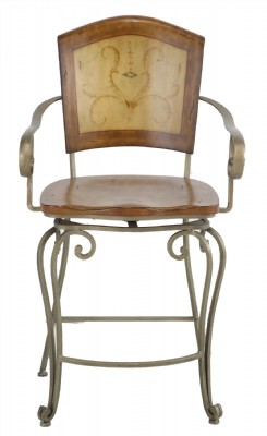 Bronzed Metal Frame Wooden Back & Seat Swivel Coun