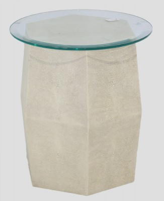 Glass Top Shagreen Base Occasional Table