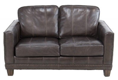 Brown Leather Nailhead Loveseat