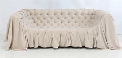 Creme Colored Tufted Upholstered Sofa
