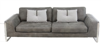 Grey Suede Leather Reclining Sofa