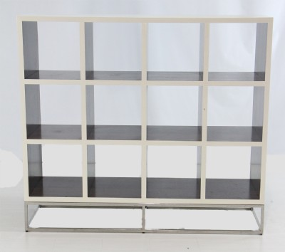 Zebrano & White Lacquer Cubicle Shelving Unit