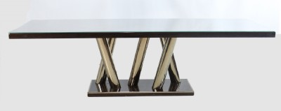 Zebrano  Wood Polished Brass Base Dining Table