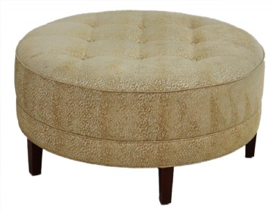 Light Gold Tone Tufted Upholstered Ottoman