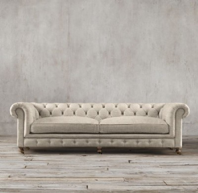 Rolled Arm Tufted Chesterfield Linen Sofa