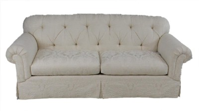Rolled Arm Skirted Tufted Sofa